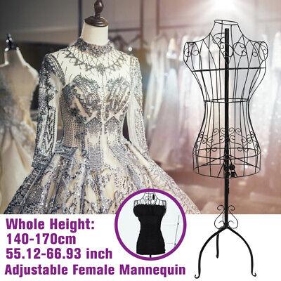 Black Metal Adjustable Wire Frame Dress Form Dressmakers Mannequin Stand