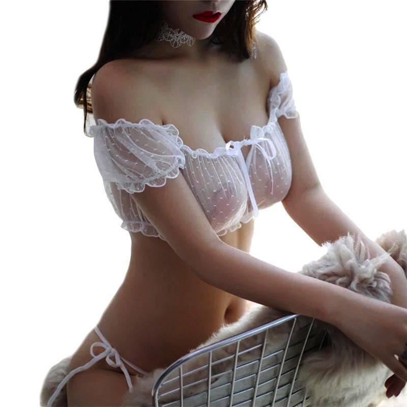 Ladies Women Sexy Lingerie Cropped Bra Top Lace-up Underwear Nightwear Sleepwear Clothing, Shoes & Accessories