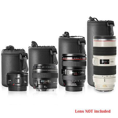 Neewer 4PCS DSLR Lens Soft Pouch Protector Case Bag S M L XL Canon Nikon Sony US