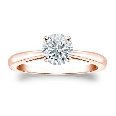 GIA Certified 0.30 Cts F/VS1 Round Brilliant Cut Diamond Ring In 14K Rose Gold