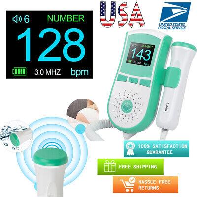 Lcd Pocket Fetal Doppler Prenatal Heart Baby Monitor Vascular Doppler 3mhz Green