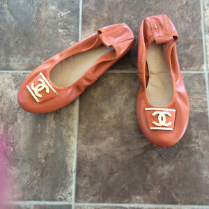 Orange leather CC ballet flats Cornwall Ontario image 1