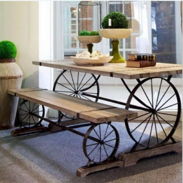 E 014 PO Solid Wood Dining Office Table Long Benches