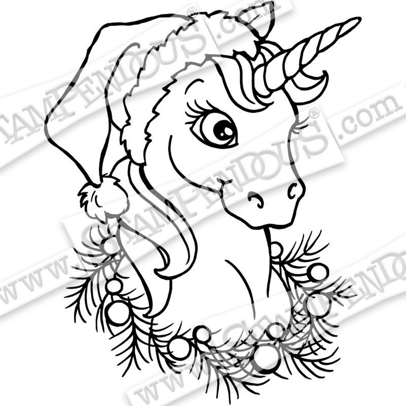 Christmas Unicorn.Details About New Stampendous Cling Stamp Christmas Unicorn Christmas