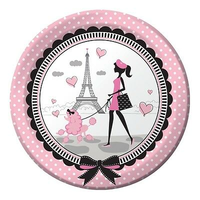 Party in Paris Dinner Plates (8) - Birthday Party Supplies