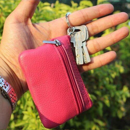 Women Men Plain Coin Key Case Card Holder Mini Purse Zip Wallet Ring Pouch Bags Clothing, Shoes & Accessories