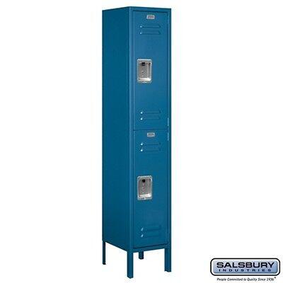 "Standard Metal Locker Double Tier 1 Wide 5' High 12"" Deep Blue 62152BL-U NEW"