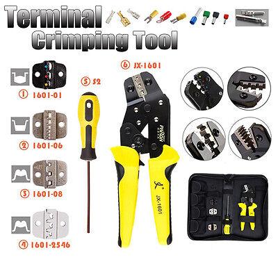 Crimping Tool Kit Cable Wire Pliers Ratchet Crimper Terminal Set & 4 Spare Dies