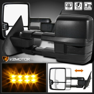 2014-2018 Silverado Sierra POWER+HEATED Extend Towing Mirrors w/Smoke LED Signal