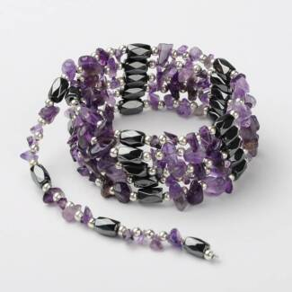 Magnetic Hematite & Amethyst Wrap Necklace/Bracelet