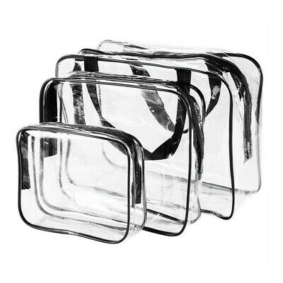 3Pcs Set Transparent Clear Cosmetic Makeup Toiletry Bag Travel Zipper Bag Pouch Clear Zipper Bag