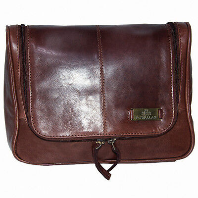 A luxury Rowallan of Scotland Leather hanging Toilet / Wash Bag in Cognac color
