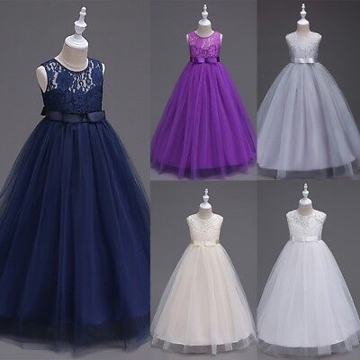 Lace Flower Girl Dress Maxi Long Formal Ball Gown for Kids Wedding Bridesmaid US