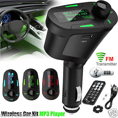 LCD Car Kit MP3 Player FM Transmitter Aux-in SD/MMC/USB Modulator Remote Control
