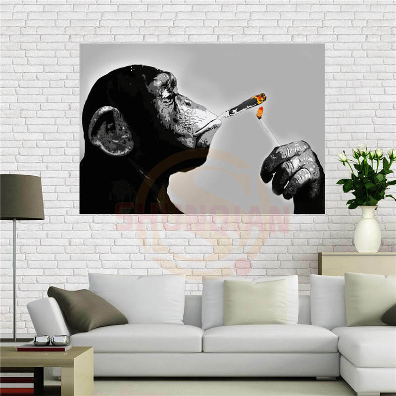 Home Room Office Bar Decor Smoking Weed Joint Monkey Paintin