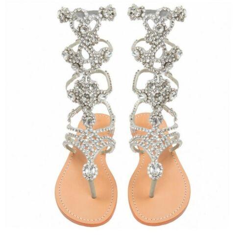 good texture quality hot sale Women's Rhinestone Gladiator Sandals Summer Flat Sandals Plus Size ...