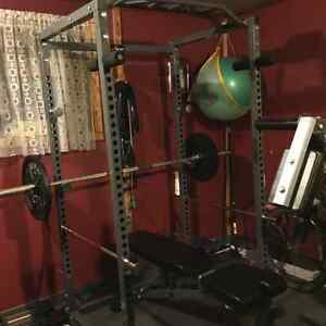 POWER RACK with FID BENCH and OLYMPIC BAR/WEIGHTS