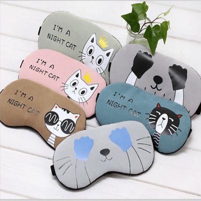 Padded Soft Sleep Mask Cover Relax Blindfold Sleeping Travel Eye Masks Cartoon (Cartoon Eye)