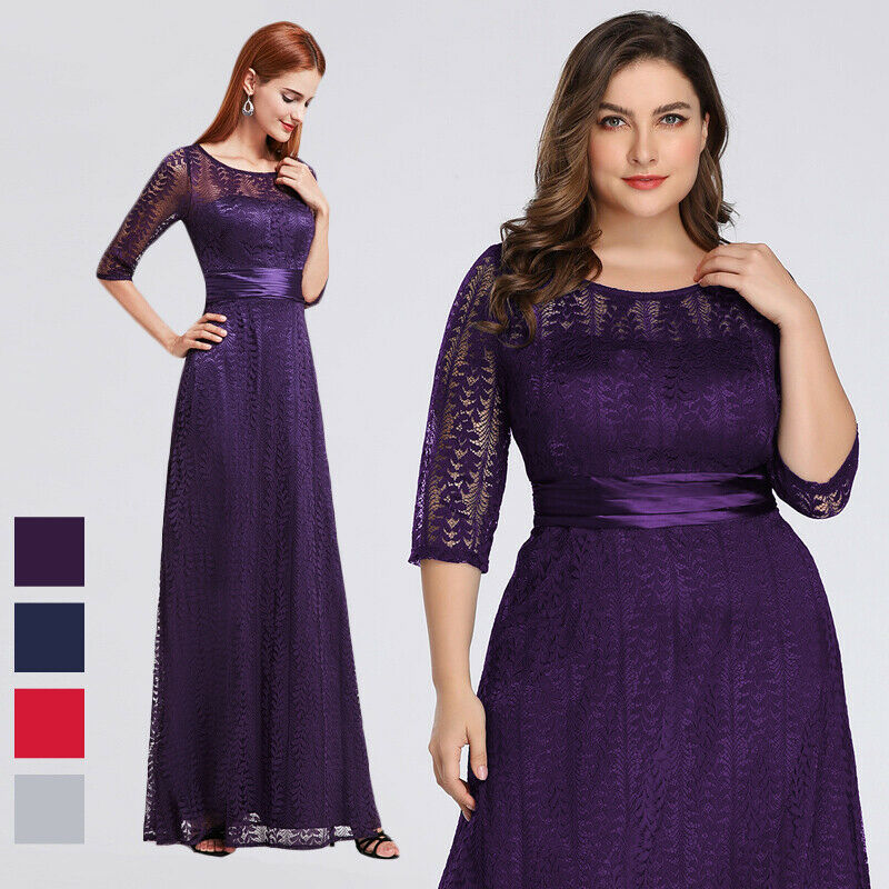 US Ever-Pretty Womans Plus Size Half Sleeve Long Mother of the Bride Dress 08878