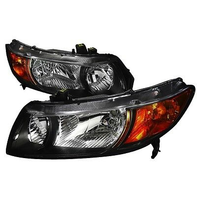For 06-11 Honda Civic FA FG JDM Black Headlights Amber Reflector 2 DOOR Coupe