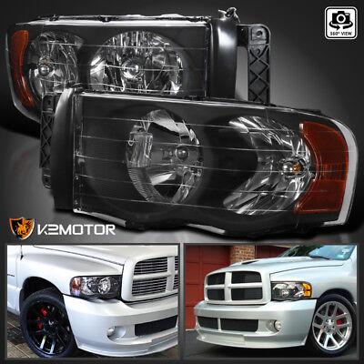 2002-2005 Dodge Ram 1500 2003-2005 Ram 2500 3500 Black Headlights Left+Right Dodge Ram 2500 Slt