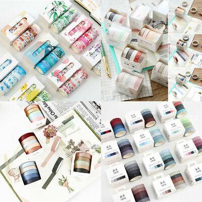 Decorative Tape (5pcs Washi Tape Solid Rainbow Color DIY Paper Adhesive Sticker)