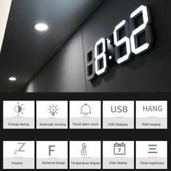 USB Digital 3D LED Wall Desk Clock Snooze Alarm Big Digits Auto Brightness Home