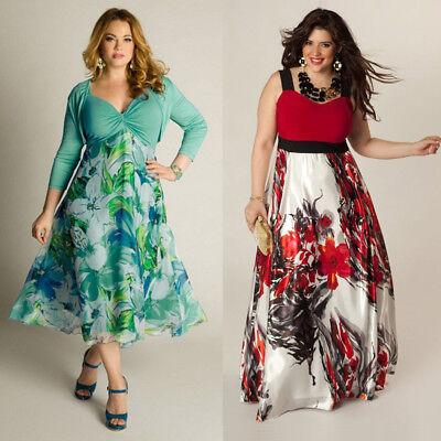 Women's Summer Boho Floral Long Maxi Dress Party Beach Sundress Plus Size L-3XL
