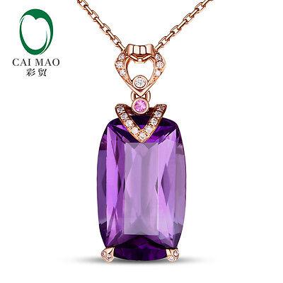 Cushion 10kt Rose Gold 11.85ct Amethyst 0.12ct Diamond & Pink Ruby Fine Pendant
