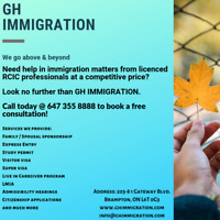 GH Immigration: Book a free consultation- 647-355-8888