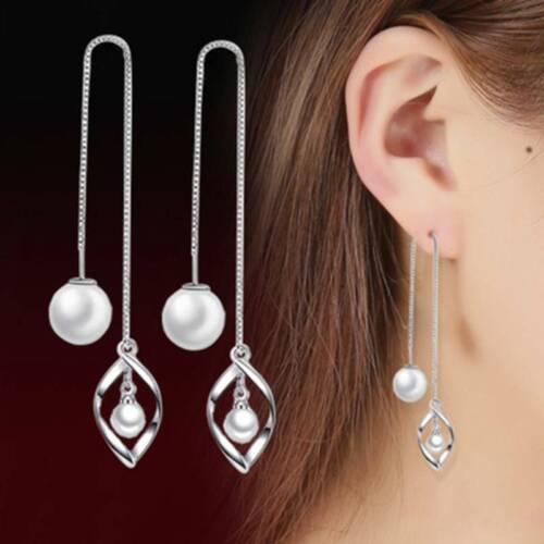 Silver Tone Thread Threader Bar Long Chain Faux Pearl Earrings Jewelry Gift WS