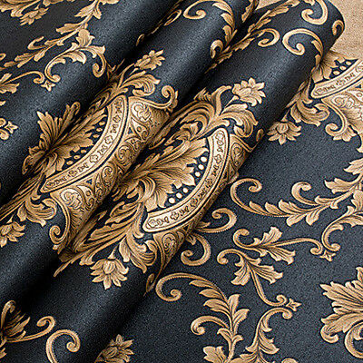 Art Deco Wallpaper Black Gold Luxury Embossed Texture Metallic Damask for Wall