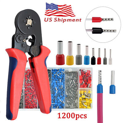 Crimp Tool Kit Ferrule Crimper Plier Wire Stripper 1200 Connector Wire Terminal