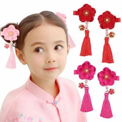 Chinese New Year Accessories (Kid Girl Tassel Floral Hairpin With Bell Chinese New Year Hair Accessories)