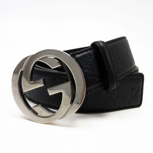 real black leather gucci belt