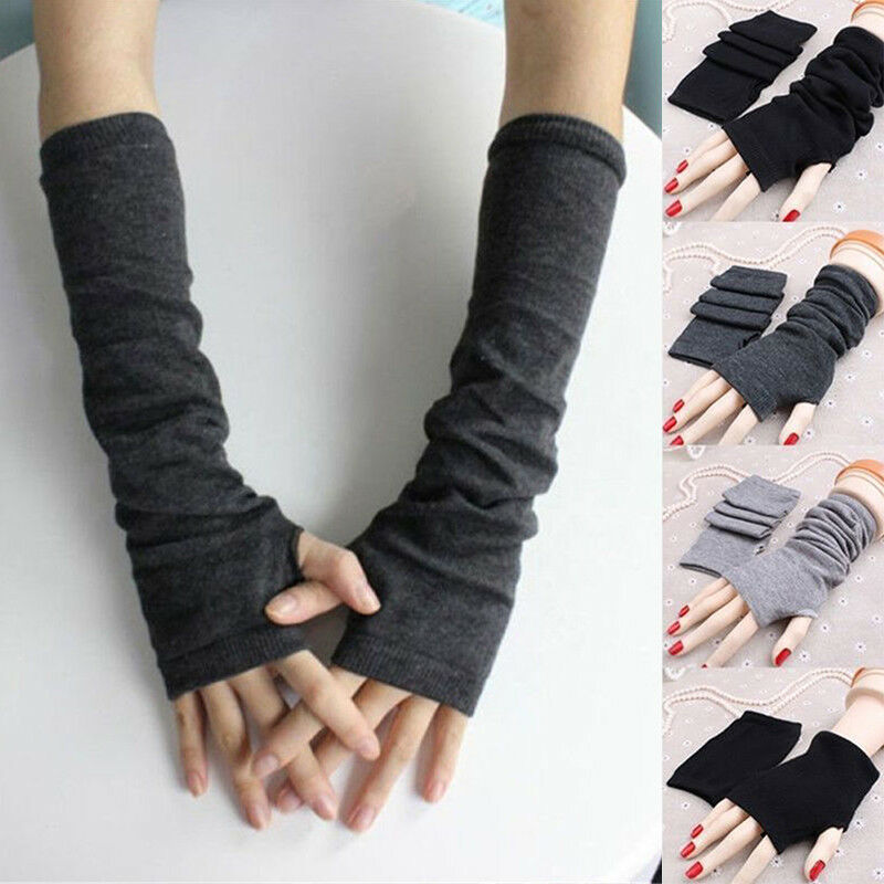 Stretchy Arm Warmers Long Fingerless Gloves Fashion Mittens