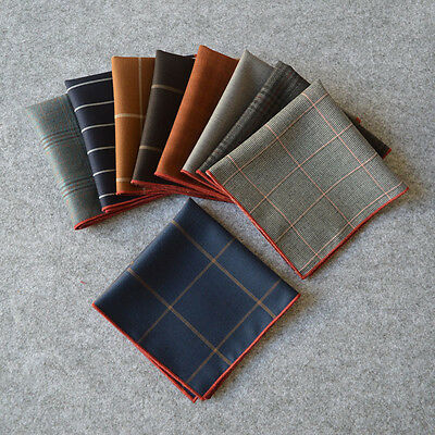 "Lot 9 Pieces 10"" Men Silk Blend Pocket Square Handkerchief Wedding Rolled Edge"