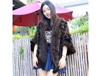 DAYMISFURRY -- Luxury Mink Fur Lady Triangle Shape Cape With PomPom In Mahogany