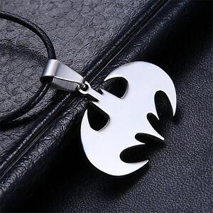 Vintage Women Men Charm Pendant Necklace Silver Stainless Steel Bat Batman Gift