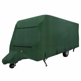 NEVER BEEN USED, GREEN EXPLORER ULTIMATE CARAVAN COVER (WITH HITCH COVER) 6.4M – 7.0M (21' - 23')