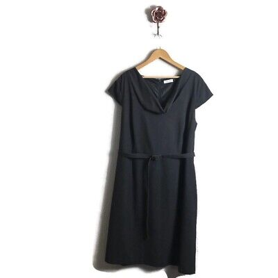 Calvin Klein Cowl Neck Gray Belted Career Dress Size 20