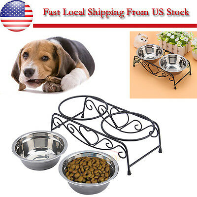 Stainless Steel Dog Bowl Double Dinner Feeding Station Food Water Pet Sz MEDIUM
