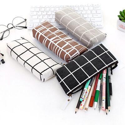 Chic Canvas Pen Box Pencil Case Bag Storage Pouch Stationery School Student (Canvas Pouch)