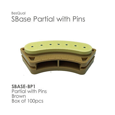 Sbase Partial With Pins Model Base 100pcs Partial Pre-pinned Stone Base Dental