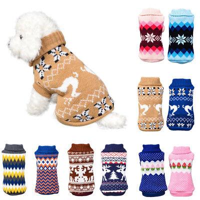 Pet Dog Winter Warm Jumper Pullover Sweater Small Medium Dog Clothes Set -
