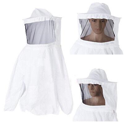White Beekeeping Jacket Veil Hat Suit Bee Protecting Pullover Smock Equipment
