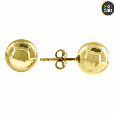 Solid 10KT Yellow Gold Fashion 10MM Ball Stud Earrings Womens Girls Ladies Small