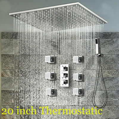 "20""Chrome Thermostatic Rainfall Shower Faucet Spa Manipulate Jets Mixer W/Handheld"