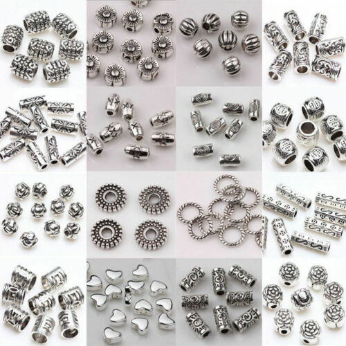 Pack of 50 Round Silver Colour Metal Spacer Beads Jewellery Making Beading Beads