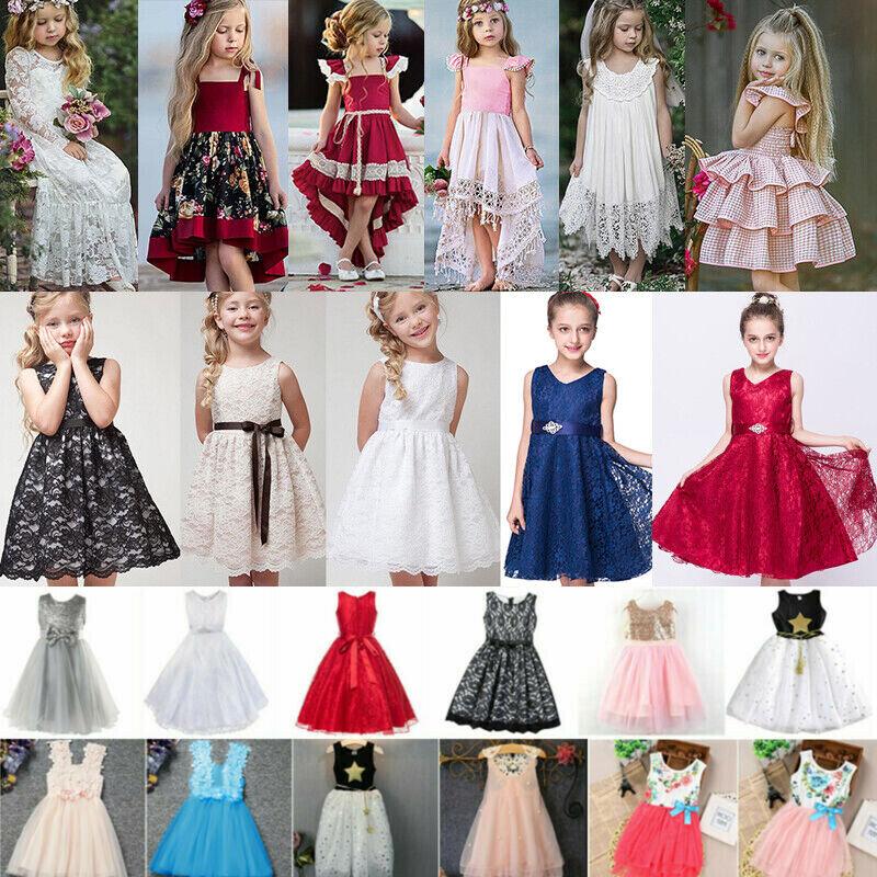 Kinder Mädchen Prinzessin Partykleid Tüll Kleider  Blumen Formal Festlichkleid
